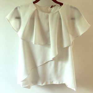 White layered short sleeved blouse